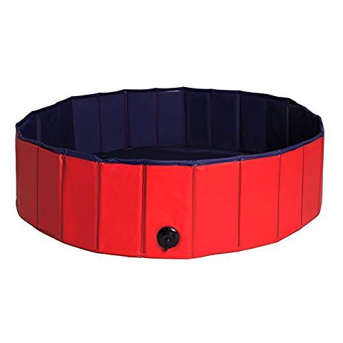 dibea faltbarer Hundepool aus PVC, Schwimmbecken für Hunde, Hundebad, Wasserbecken für Hunde, blau/rot, Größe M (120cm Ø, 30cm Höhe)
