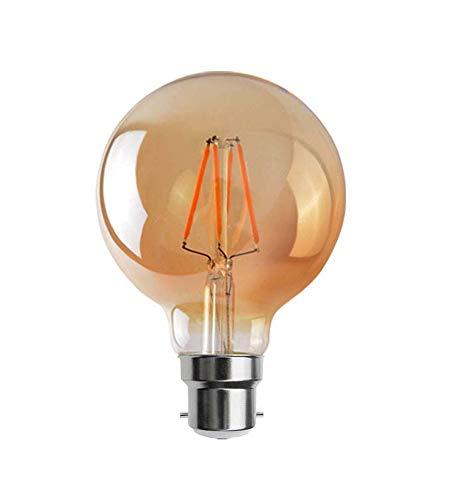 Globe 80/95 LED-Vintage-Glühbirne, Glühfaden, Edison-Stil, E27/B22, 2800 K, Warmweiß, langer Glühfaden, Braune LED- Birne, Rauchgold-Glas, Edison, LED-Birne, 4w, Energieklasse A+, E27 8.0W 220.0V