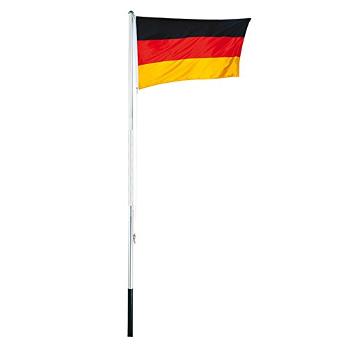 Aluminium Fahnenmast 4tlg. 3,8m inkl.Deutschlandflagge Fahnenstange Flaggenmast