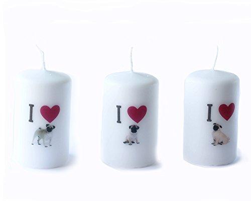 Tre Pug sveglio del cucciolo del cane bello del bambino candela di buona qualità buon (Amore Candela Di Unità)