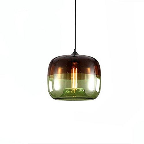 HJXDtech-Industrielle Jahrgang Loft Pendelleuchte Esszimmer Art-Deco-Deckenleuchte mit Kollisions Farbe Glas lampenschirm (Grün)