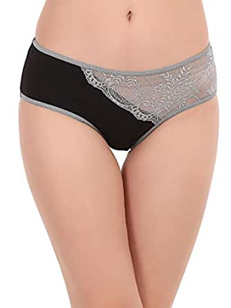 Clovia Women's Cotton Mid Waist Hipster Panty with Lace Panel