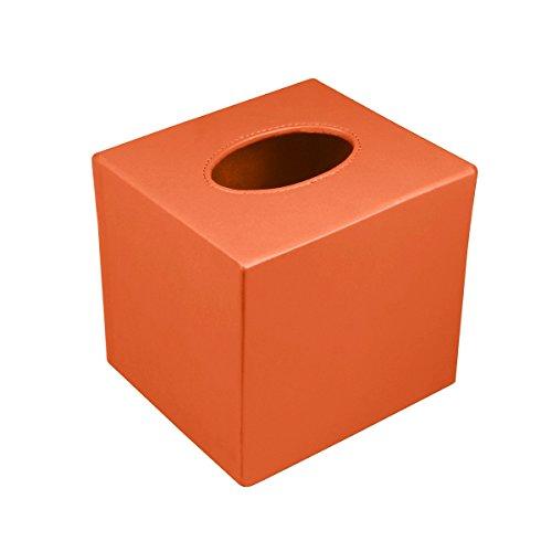 Lucrin - Quadratischer Kosmetiktuchbehälter - Weiss - Glattleder Orange