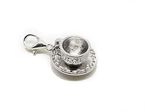 Saucer and Cup Filigree Gift Dangle Bead for Silver European Charm Bracelets Clip on Charm chain link bracelet meaning charms (silver clip