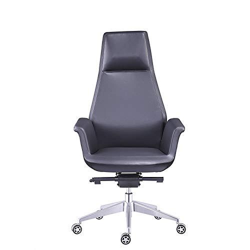 ADHKCF Echtes Leder Executive Bürostuhl Einfache moderne ergonomische Schreibtischdrehstuhl hohe Rückenlehne Heavy Duty verstellbarer Arbeitsstuhl in Metall-Design-Rahmen (Farbe : A, größe : Sipi) -