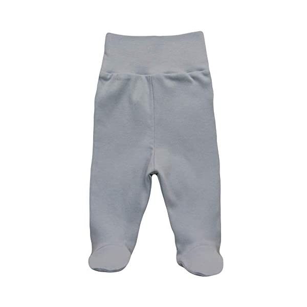 MEA BABY Pantalones unisex para bebé con pie de 100 % algodón en paquete de 5 unidades. Pelele con pie. 4