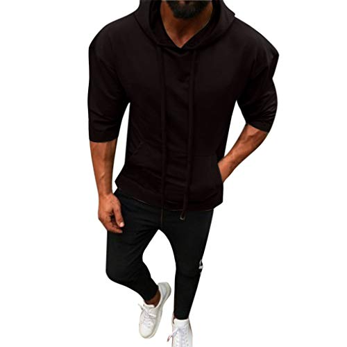 B-commerce Men Hooded SweatshirtMen - Männer Splicing Button Pullover Sieben Punkte Ärmel Volltonfarbe Sport Lose Tops