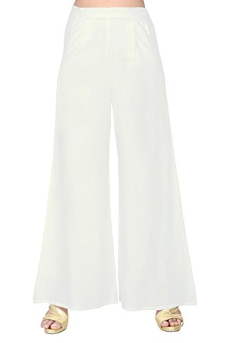 Elaine Women's Rayon Plazo (33010_Off White_X-Large)