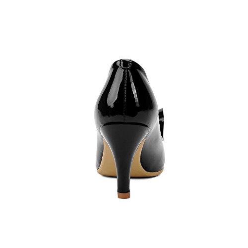 AllhqFashion Femme Tire Pu Cuir Pointu à Talon Correct Couleur Unie Chaussures Légeres Noir