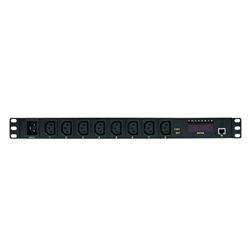 """LogiLink Professional PDU8P01 Hochwertige IP 19\"""" Steckdosenleiste 8-Fach mit Schalt-, Mess/Warnfunktion, Temperatur und Feuchtigkeitssensor Schwarz"""