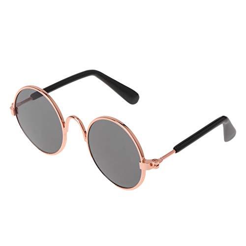 YounggerY Pet Brille Kostüm Sonnenbrille Runde Lustige Mode Requisiten Hund Katze Versorgung Produkte Gold + Schwarz Objektiv