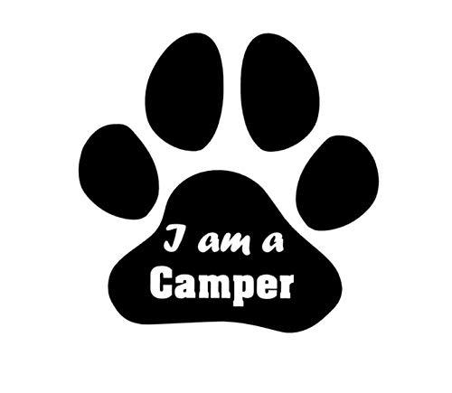 Generic Hundepfote Aufkleber Inklusive I am a Camper Schriftzug. 10cm,15cm oder 20cm als Autoaufkleber, Wohnmobil Caraven Wohnwagen Camping Aufkleber (215) (20cm, Grau matt)
