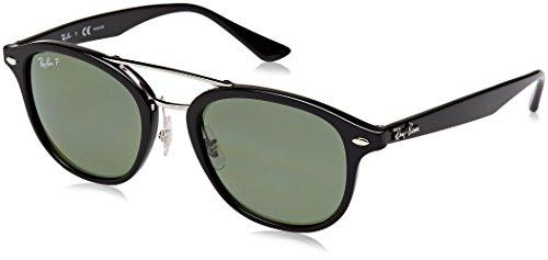 RAYBAN JUNIOR Unisex-Erwachsene Sonnenbrille RB2183 Black/Darkgreenpolar, 53