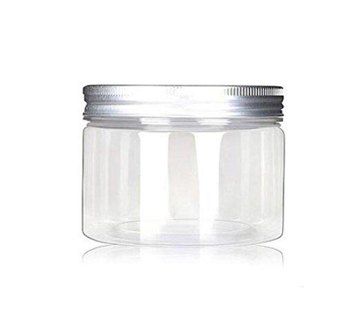 Lot de 6 bocaux de 120 ml Plastique Pet rechargeables Cosmétique conteneurs Cases avec capuchons en aluminium Argenté Crème Lotion Box pommades Bouteille Nourriture Bouteille Maquillage Pot