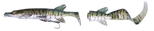 Savage Gear 3D Hybrid Pike, Hechtköder, Angelköder für Hecht, Hechtwobbler, Hybridköder, Gummifische, Wobbler, Farbe:Green Silver Pike;Länge / Gewicht:17cm -45g