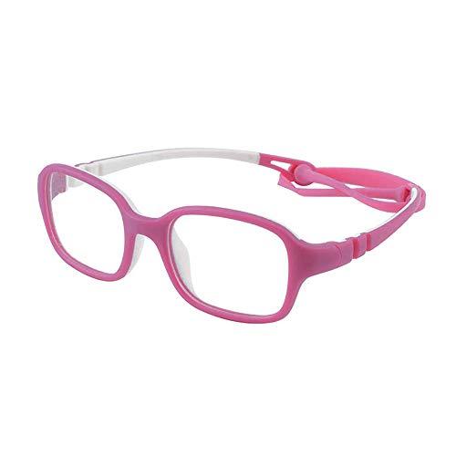 Kostüm Schwarzes Quadrat Brille - Kinder Kids Brille Teenager biegsam schick Gestell Rahmen Fassung klar, eckig Gläser für Mädchen Jungen (Alter2-5 Jahre) (Wk11c5 Pink)