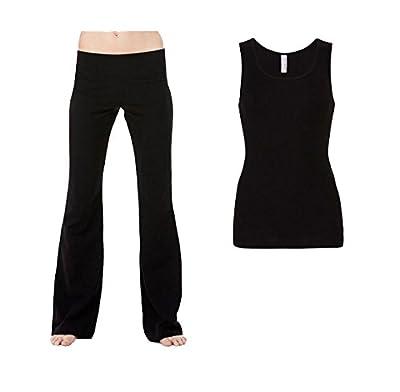 2er-Set Bella + Canvas Damen Yoga Fitness-Hose Sporthose mit Tank Top Sport Shirt