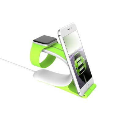 LOCA Mobius 2-in-1 Apple Watch Smart Watch Charging Docks, Charging Stand Holder for All iWatch & iPhone & iPad Edition (Green)