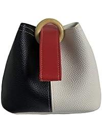 QZUnique Women¡s Bag Mixed Color Bucket Bag Korean Chic Handbag Sling Bag Crossbody Bag