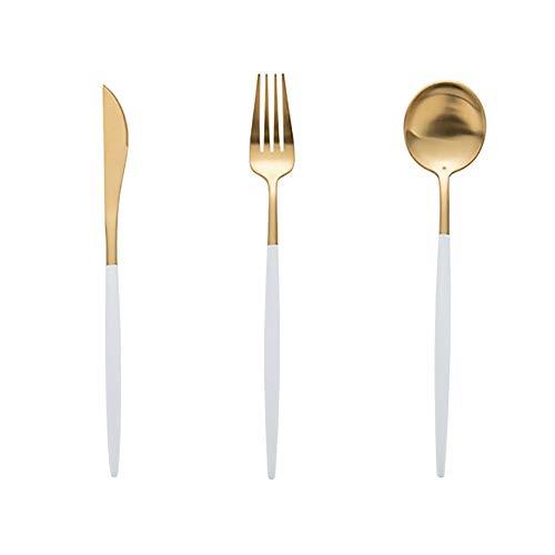 RXX666 Besteckset aus Edelstahl Hochwertiges Besteck-Set ideal für Haus Küche Restaurant Hochzeitsfeste, 12 Pcs/12 Pcs/ 24 Pcs für 3/4/6 Personen Spülmaschinenfest, Schwarz, weiß, pink