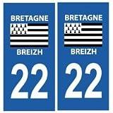 Autocollant plaque immatriculation auto département 22 Côtes d'Armor