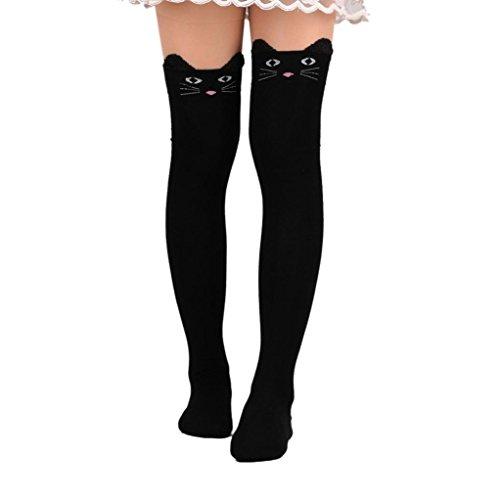 Hffan Womens niedliche Katze Karikatur Socken lange Socken über dem Knie Hohe Socke College Stil Damen Halterlose Socken Strumpfhose Kawaii High Socks (Schwarz)