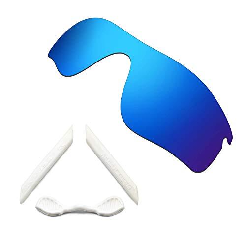 HKUCO Blue Polarized Replacement Lenses and White Earsocks Rubber Kit For Oakley Radarlock Path Sunglasses