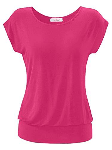 ELFIN Damen T-Shirt Ärmellos Longshirt Kurzarm Lässig Tunika Weite O-Neck Oberteile Sommer Basic Top Bund Shirt