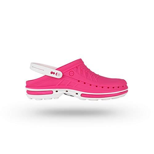 Wock clog con cinturino - calzatura professionale sterilizzabile; antistatica; antiscivolo; antiurto - bianco/fuchsia - uk : 4.5 ; eur : 37-38