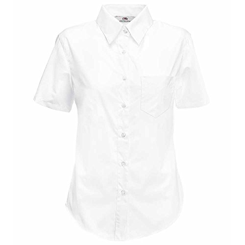 Fruit of the Ladies Loom Lady-Fit Short Sleeve Poplin Shirt white