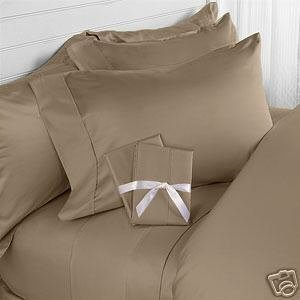 Elegant Comfort Bettlaken-Set, Knitter- und lichtbeständig, Fadenzahl 1500, ägyptische Qualität, luxuriös, seidig weich, 4 Stück, Tiefe Tasche bis 40,6 cm und Farben Standard Size Pillowcases Taupe -