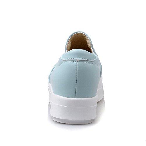 AllhqFashion Femme à Talon Correct Matière Souple Couleur Unie Tire Rond Chaussures Légeres Bleu