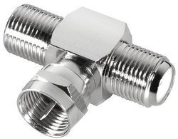 Sat-Adapter T-Stück Verteiler 1-x F-Stecker / 2-x F-Kupplung