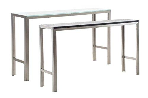 Clp tavolo bar canberra in acciaio inossidabile - tavolo da cucina rettangolare design moderno i tavolo da appoggio bar o cucina i tavolo aperitivo catering rettangolare vetro opaco 160x40x100 cm