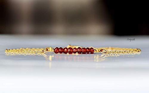 Edelstein Armband Granat/Armband gold roter Granat/Geschenk für Sie/Himmlisches Armband/Festliches Armband/Geburtsstein