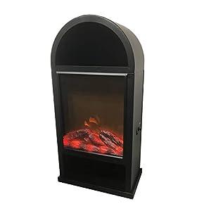 Deko-Kamin mit LED-Lichteffekt Akku Dekokamin mit Flammen- und Raucheffekt 25,7 x 14,6 x 50,3 cm mit Timer kabellos verwendbar mit Wandhaken USB-Ladekabel schwarz
