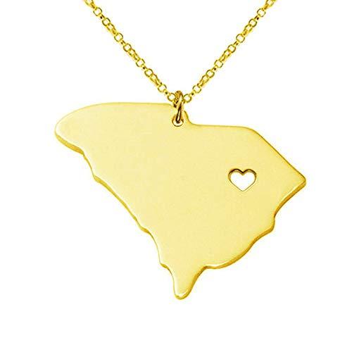 LIUSHUGUANG South Carolina Halskette State Charm Anhänger personalisierte Karte Halsketten, State Karte Halskette Custom Jede Karte Anhänger FTH-CN37,Gold -