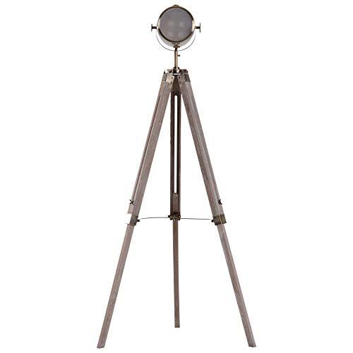 HOMCOM Stehleuchte Standlampe Stehlampe höhenverstellbar 3-Bein E14 Kiefer Bronze L65 x B65 x...