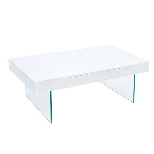 Riess Ambiente Moderner Design Couchtisch Floating 110cm weiß Hochglanz Glas Komposition inkl Schublade