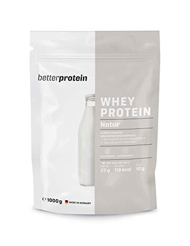 Whey Protein - Natur 1 kg - Hergestellt in Deutschland aus regionaler Milch - BetterProtein® - Eiweißpulver zum Muskelaufbau und Abnehmen - Beutel