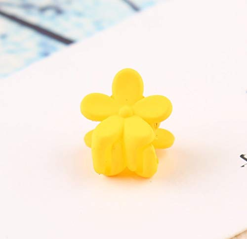 Cute Hair Pins Flower Side Clip Candy-Color Girls Kids Hair Clips Mini Liu Hai Clip Gripper(Yellow) (Yellow Flower Hair Pin)
