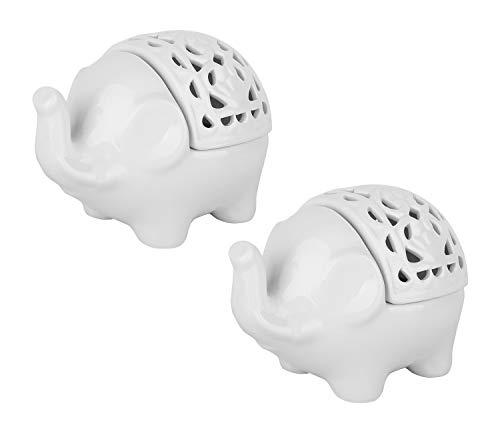 Lewondr Candelero de Cerámica, [2 Piezas] Simple y Elegante Soporte de Vela para Tea Light con Forma de Elefante Decoración de Hogar, Fácil de Limpiar - Blanco