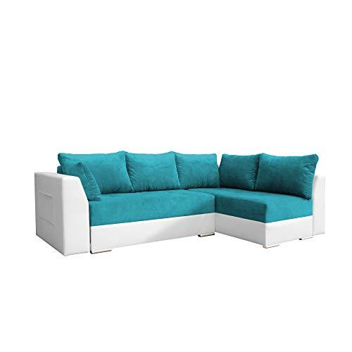 mb-moebel Ecksofa mit Schlaffunktion Eckcouch mit Zwei Bettkasten Sofa Couch Wohnlandschaft L-Form Polsterecke Laos (Türkis + Weiß, Ecksofa Rechts)
