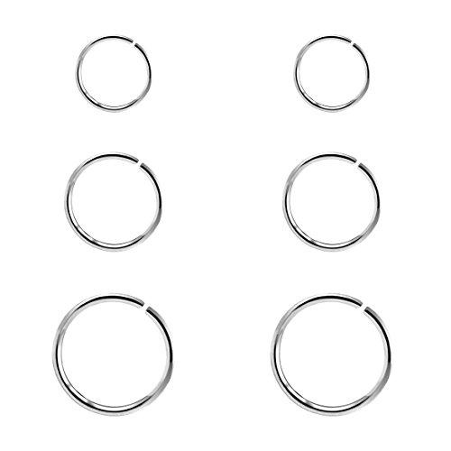Nicht durchbohrte Nasenring Lip Ohrclip Körper Schmuck Nase Lip Helix Knorpel Tragus Ohrbügel Ring 6mm / 8mm / 10mm (Nicht Durchbohrte Nase Ringe)