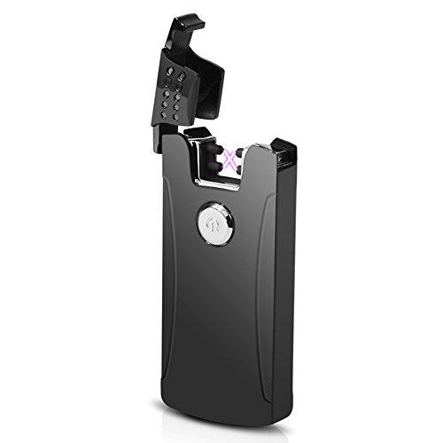 Briquet USB Rechargeable ZUOAO Briquet Électrique Double Arc Coup-vent sans Flammes et Gaz avec Câble USB et Boîte Cadeau (Noir)