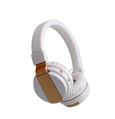 Faltbare über Ohr Bluetooth 4.0 Wireless Stereo Kopfhörer Hands Free Music Player Support TF Card mit UKW-Radio, eingebautem Mikrofon und 3,5mm Audio,White