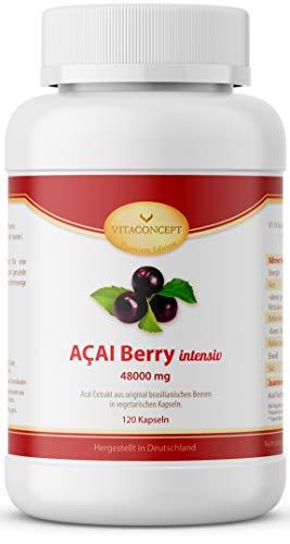 ACAI Berry 48000 mg (TD) plus Vitamin C * Das Orginal aus Brasilien * Höchstmögliche Dosierung* 30:1 Extrakt ohne Magnesiumstearat * 120 Kapseln - Fettverbrennung & Diät - MADE IN GERMANY - VITACONCEPT