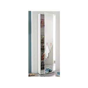 möbelando Schuhschrank Spiegeltür Schuhregal Schuhkommode Spiegelschuhschrank Goswin (Weiß)