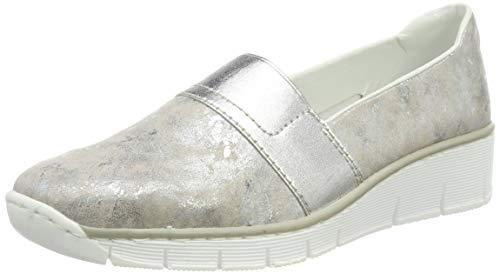 Rieker Damen 53781-91 Slipper, Silber (Rose-Metallic 91), 41 EU