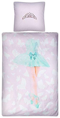 Aminata Kids - Bettwäsche 135x200 cm Kinder Mädchen Ballerina Tänzerin Baumwolle + Reißverschluss Pink Rosa Türkis Kinderbettwäsche Krone Tutu Spitzenschuhe Ballett Bettwäscheset Bettbezug Ganzjahr
